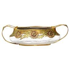 Art Nouveau Orivit Gilt Metal Mounted Glass Jardiniere Bowl, Cologne, Ca 1904.