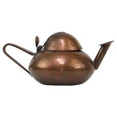 Arts & Crafts Copper Oil Lamp, France, Ca 1900.
