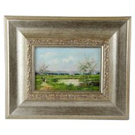 Rural Landscape Oil on Board Framed Signed Painting.
