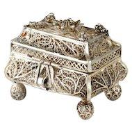 Rare 91 Silver Filigree Spice Box Besamim, Fyedor Pichugin, Moscow, 1860.
