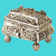 Rare 91 Silver Filigree Spice Box Besamim, Fyedor Pichugin, Moscow, 1860.
