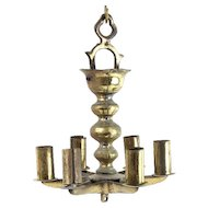 Antique Brass Hanging Sabbath Lamp Judenstern, Germany, 19th Century, Judaica.