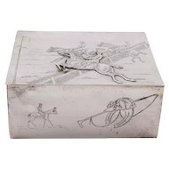 Equestrian Interest - Silver Plated Horse and Jockey Lidded Box.