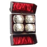 Set of 4 Sterling Silver Napkin Rings by John Millward Banks Birmingham England 1890.