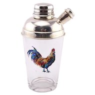 Novelty English Silver Plated Mounted Glass Rooster Cocktail Shaker.