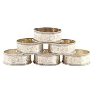 Set of 6 Sterling Silver Napkin Rings by Alfred Taylor Birmingham England 1865.