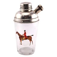 Novelty English Silver Plated Mounted Glass Equestrian Cocktail Shaker.