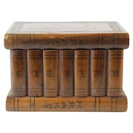 Antique Olive Wood Book Shelf Shaped Jewelry Box.
