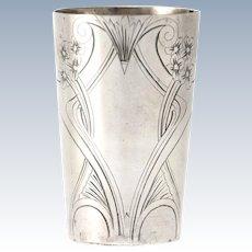 Art Nouveau Silver Beaker Cup Russia 1908-1917