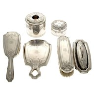 Tiffany & Co Sterling Silver 7pcs Grooming Toilet Set, 1907-1947.