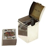 Victorian Sterling Silver Miniature Playing Card Box, Andrew Barrett & Sons, London, England, 1898.