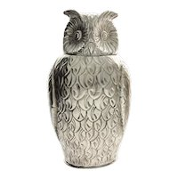 Impressive Novelty English Silver Plated Owl Wine Bottle Cooler.