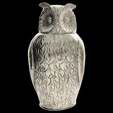 Impressive Novelty English Silver Plated Owl Wine Bottle Cooler.