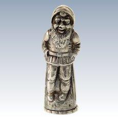 Novelty Silver Figural Dwarf Elf Salt or Pepper Shaker.