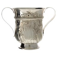 Early Georgian Sterling Silver Two Handled Trophy, London, England, 1770.