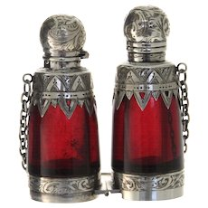 Antique Silver Mounted Ruby Glass Binocular Double Ended Scent Bottle, Circa 1900.