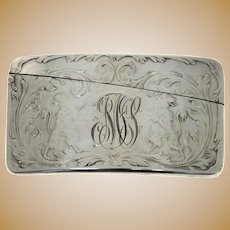 American Sterling Silver Curved Card Case, Blackinton & Co, North Attleboro, Massachusetts, Circa 1900.