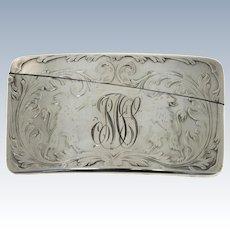 American Sterling Silver Curved Card Case, Blackinton & Co, North Attleboro, Massachusetts, Circa 1900.