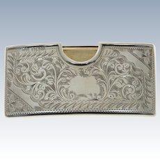 Sterling Silver Card Case, Jones & Crompton, Birmingham, England, 1913.