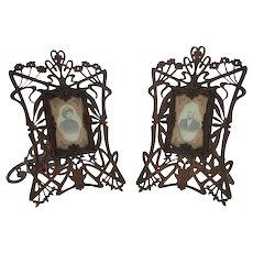 Unique Pair of Art Nouveau Carved Wood Picture Photo Frames, Circa 1900.