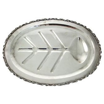 Large and Massive Sterling Silver Meat Serving Platter Tray