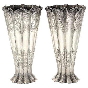 Antique Pair of Persian Silver Vases, Circa 1900.