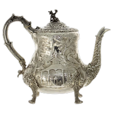 Rare William IV Sterling Silver Teapot, John James Keith, London, England, 1835.