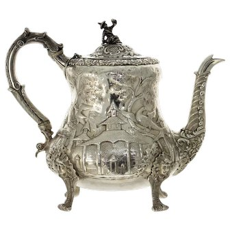 Rare William IV Sterling Silver Teapot, John James Keith, London, England, 1835.