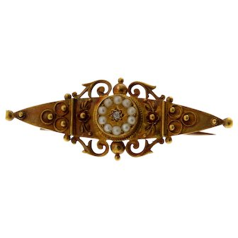 Victorian 15 Karat Rose Gold Diamond and Pearl Brooch, Chester, England, 1899.