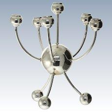 Unique Sterling Silver Six Light Candelabra.