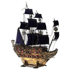 Gilt Sterling Silver, Enamel and Gem Set Three Masted Galleon Nef, Early 20th Century.
