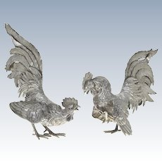 Pair of Silver Fighting Cocks Roosters, Europe, Early 20th Century.
