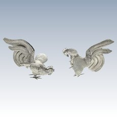 Pair of Sterling Silver Fighting Cocks Roosters, Early 20th Century.