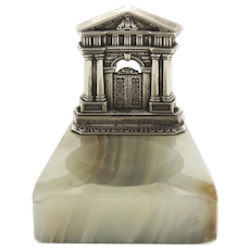 Sterling Silver and Marble Grosvenor House Ashtray, Henry Charles Freeman, Birmingham, England, 1930.