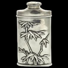 Chinese Export Silver Talcum Powder Box Dispenser, Wang Hing, Circa 1900.