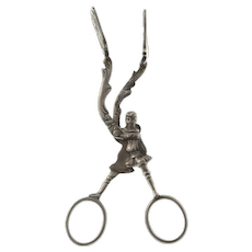 Ludwig Neresheimer Silver Tongs, Hanau, Germany, Late 19th Century.
