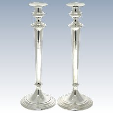 Gorham Pair of Huge Sterling Silver Candlesticks Torches, USA, 1917.