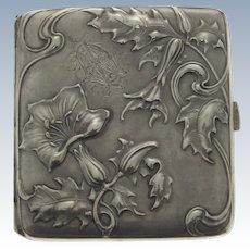 Art Nouveau Silver Cigarette Case, Lutz & Weiss, Pforzheim, Germany, Circa 1900.