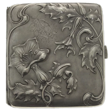 Art Nouveau Silver Cigarette Case, Lutz & Weiss, Pforzheim, Germany, Circa 1900.