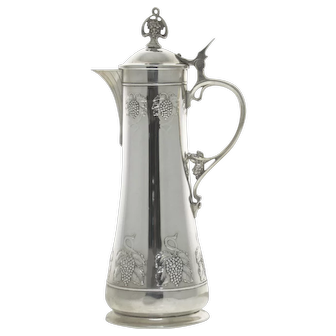 WMF Silver Plated Wine Claret Jug Decanter, Germany, Circa 1925.
