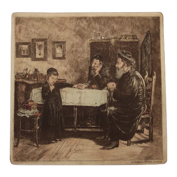 Isidor Kaufmann - Rabbis Querying a Young Student Colored Etching