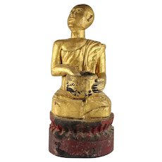 Rare Antique Gilt Wood Buddhist Monk Figure, Chinese, Late 19th Century.