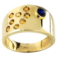 14 Karat Yellow Gold Citrine and Blue Sapphire Pinky Ring