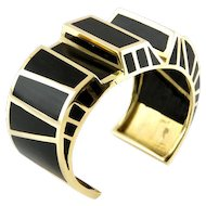 14 Karat Yellow Gold and Ebony Bracelet