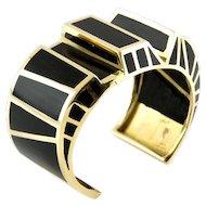 14 Karat Yellow Gold and Ebony Bracelet