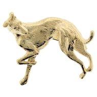 14k Yellow Gold Greyhound Dog Brooch Pin.
