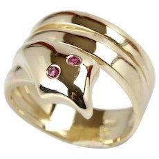 New 14 Karat Yellow Gold Ruby Snake Serpent Designer Ring
