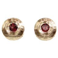 14 Karat Yellow Gold and Garnet Earrings