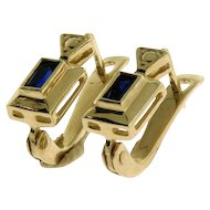 Pair of 14 Karat Yellow Gold Sapphire Earrings.