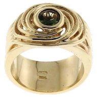 New 14 Karat Yellow Gold and Tourmaline Spiral Ring.